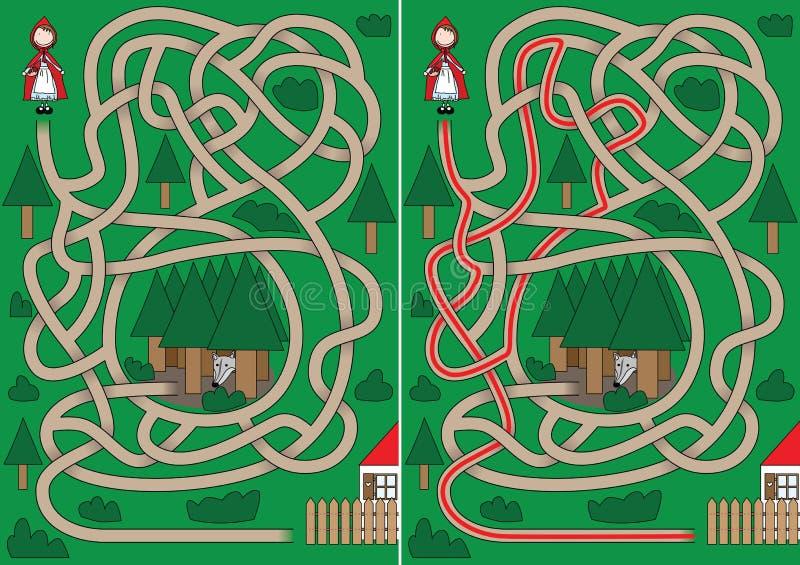 Little Red Riding Hood maze stock illustration