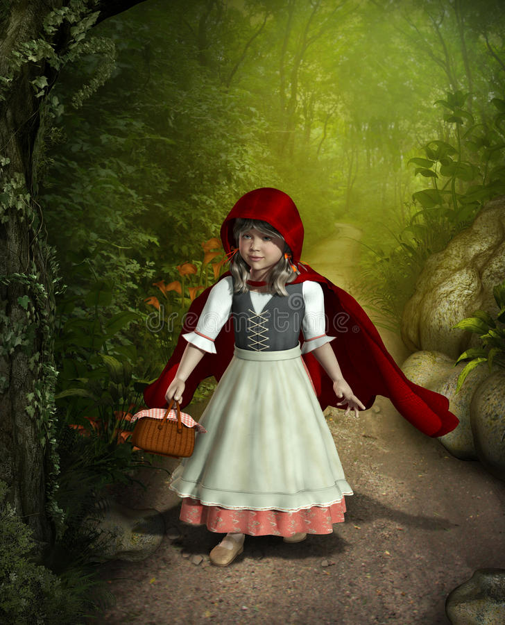 Little Red Riding Hood Walking through the Forest. 3D rendering of Little Red Riding Hood walking through an enchanted forest vector illustration