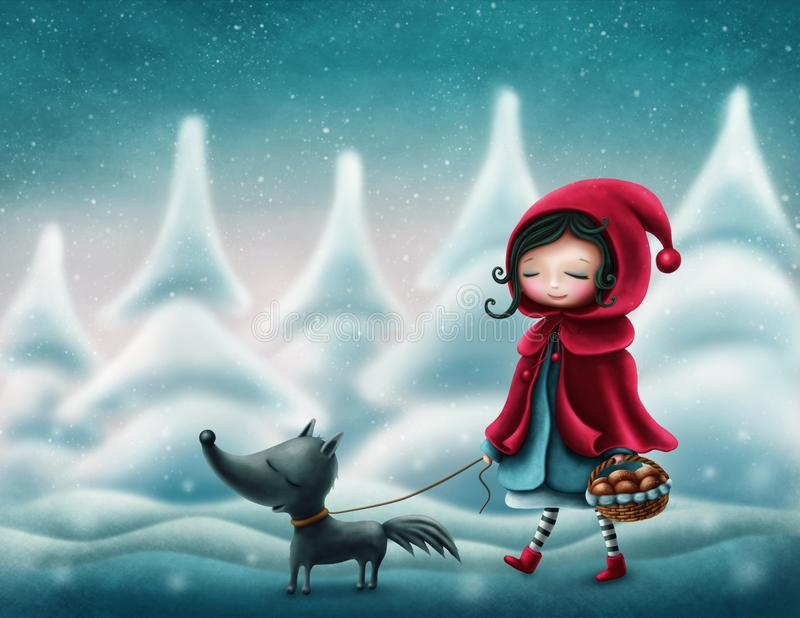 Little red riding hood. And the wolf vector illustration