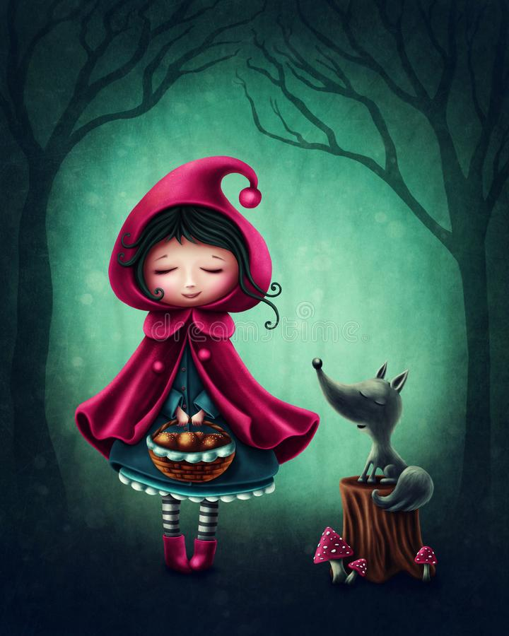 Little red riding hood. And the wolf stock illustration
