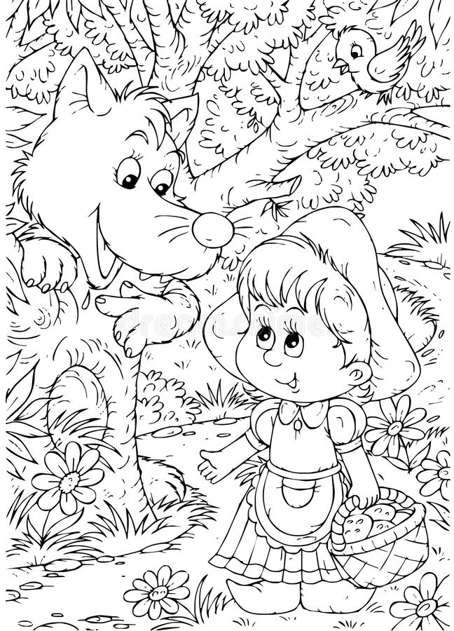 Little Red Riding Hood and Wolf stock illustration