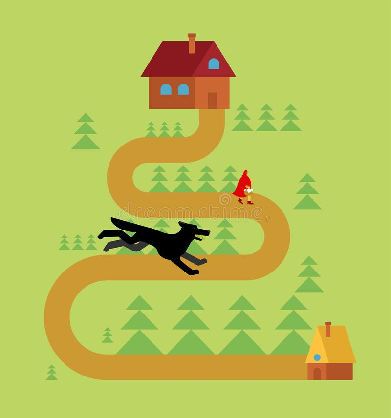 Little Red Riding Hood and wolf in forest vector illustration