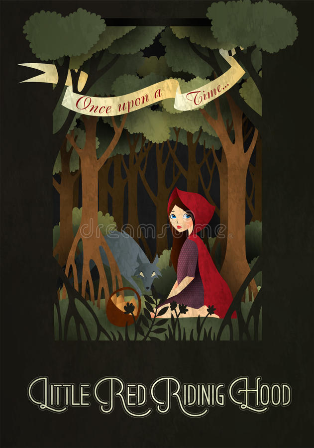Little Red Riding Hood and wolf in front of forest royalty free illustration
