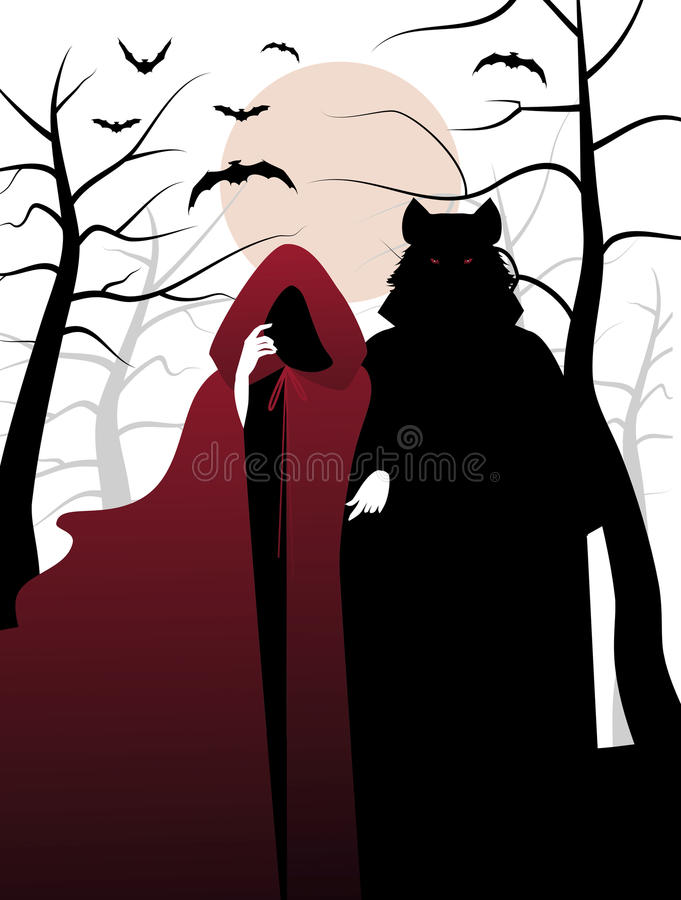 Little red riding hood and wolf in the woods. Invitation to a Ha stock illustration