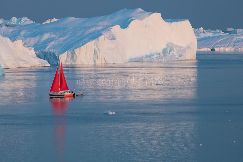 Little red sailboat cruising among floating icebergs in Disko Bay glacier during midnight sun season of polar summer. Greenland. Little red sailboat cruising royalty free stock images