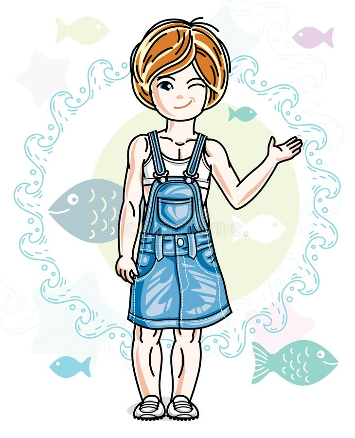 Little redhead girl cute child toddler in casual clothes standing on marine backdrop with ocean and fishes. Vector pretty nice. Human illustration vector illustration