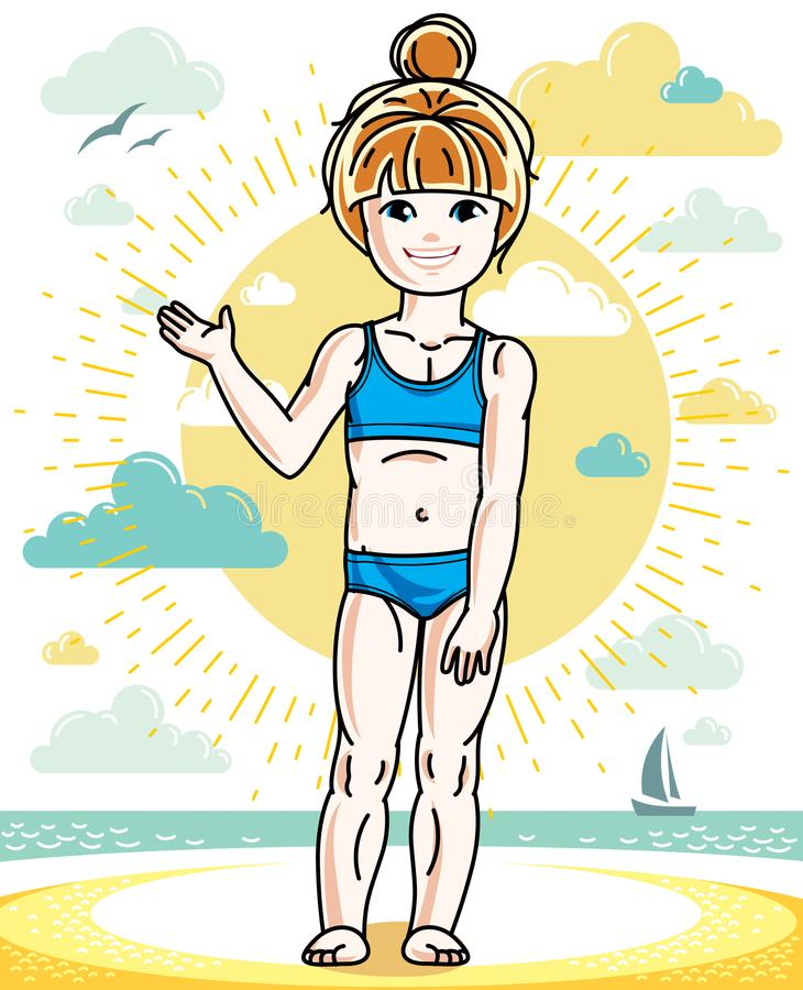 Little redhead girl cute child toddler standing on beach in colo. Rful swimsuit. Vector pretty nice human illustration. Summertime and vacation theme vector illustration