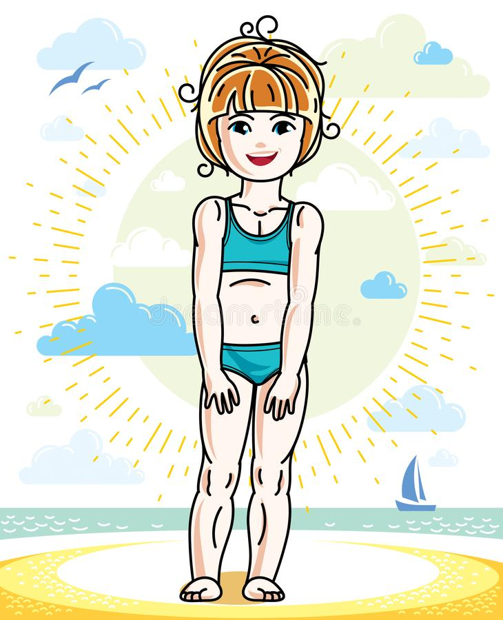 Little redhead girl cute child toddler standing on beach in colorful swimsuit. Vector pretty nice human illustration. Summertime. And vacation theme stock illustration