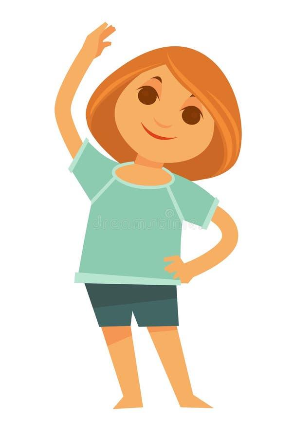 Little redhead girl does morning exercises isolated illustration royalty free illustration