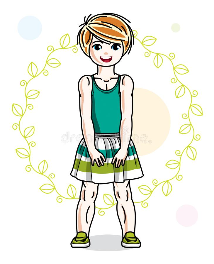 Little redhead girl toddler in fashionable casual clothes posing on green eco background. Vector illustration of kid standing stock illustration
