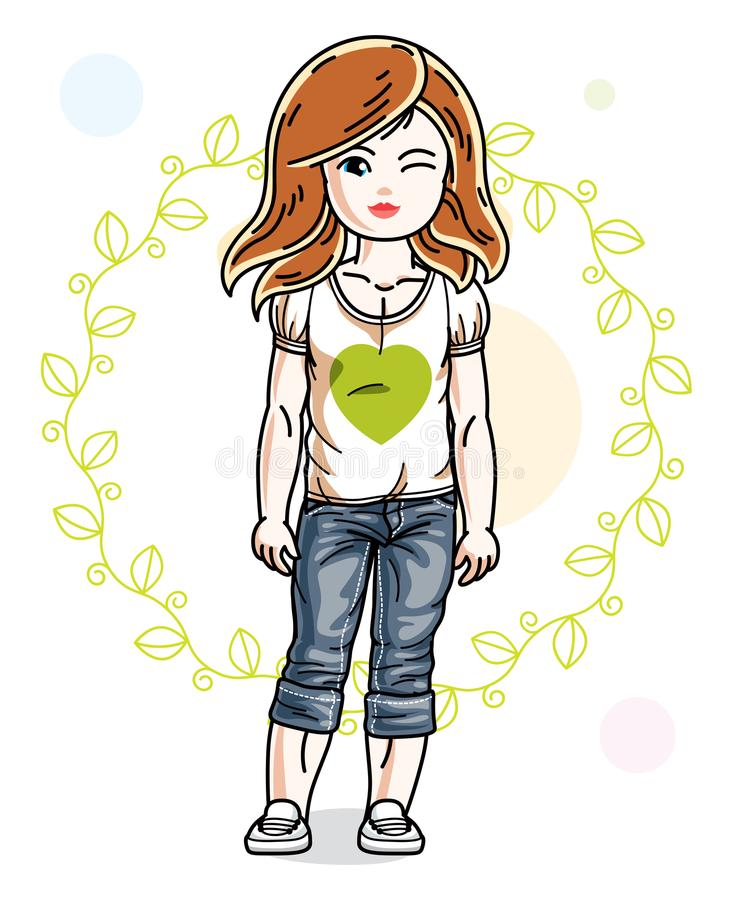 Little redhead girl toddler in fashionable casual clothes posing. On green eco background. Vector illustration of kid standing stock illustration