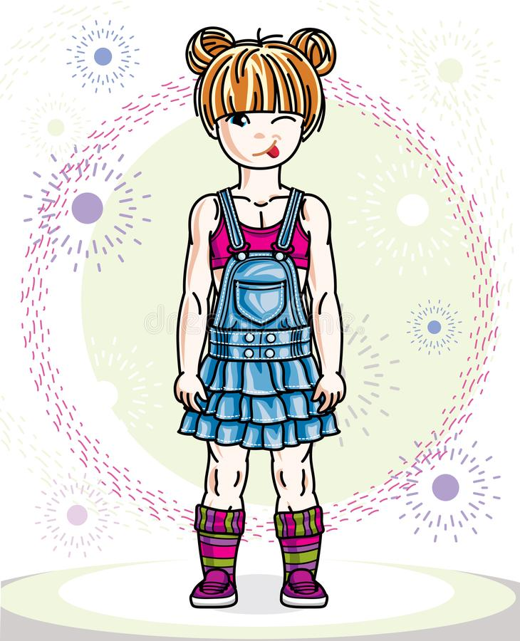 Little redhead girl toddler standing in fashionable casual cloth. Es. Vector kid illustration stock illustration