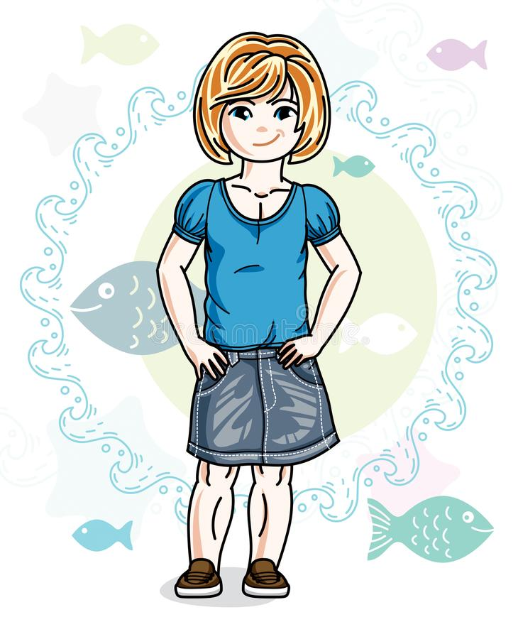 Little redhead girl toddler standing in fashionable casual cloth. Es. Vector kid illustration. Sea fauna theme royalty free illustration