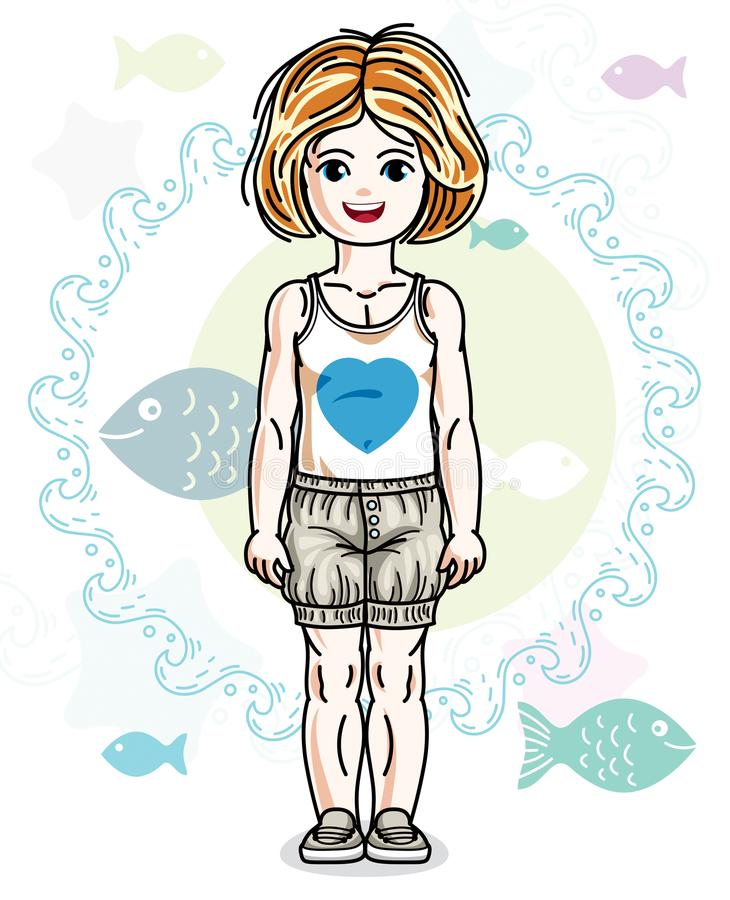Little redhead girl toddler standing in fashionable casual cloth. Es. Vector kid illustration. Sea fauna theme vector illustration