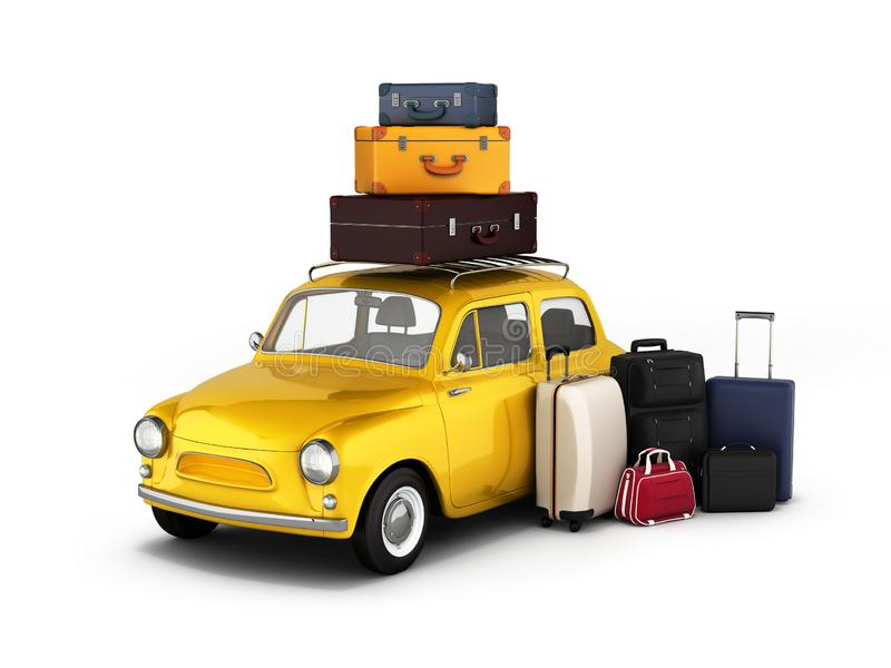 Little retro car with suitcases and bags, travel concept.3d illustration stock illustration