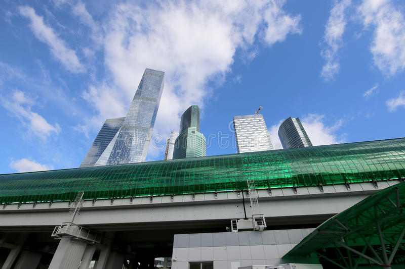 Little Ring of the Moscow Railways and skyscrapers of the International Business Center (City), Russia stock photo