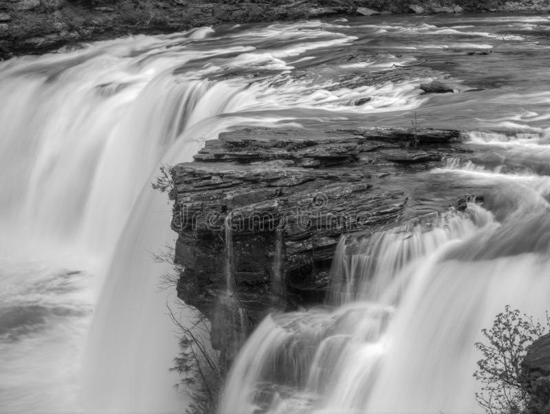 Little River Falls. Little River Canyon National Preserve. Alabama. Little River Falls. Alabama. Closeup of water fall in black and white royalty free stock photography