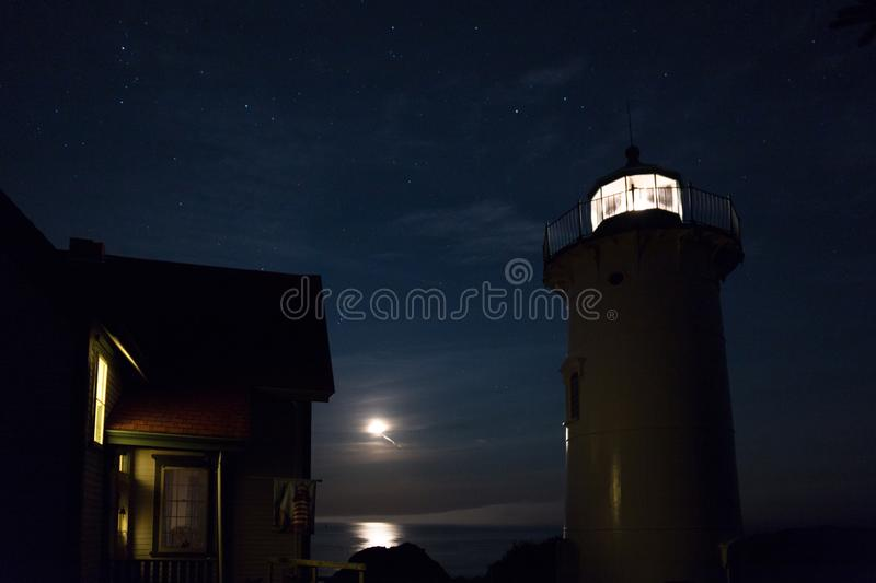 Little River Lighthouse with Moon and Stars royalty free stock images