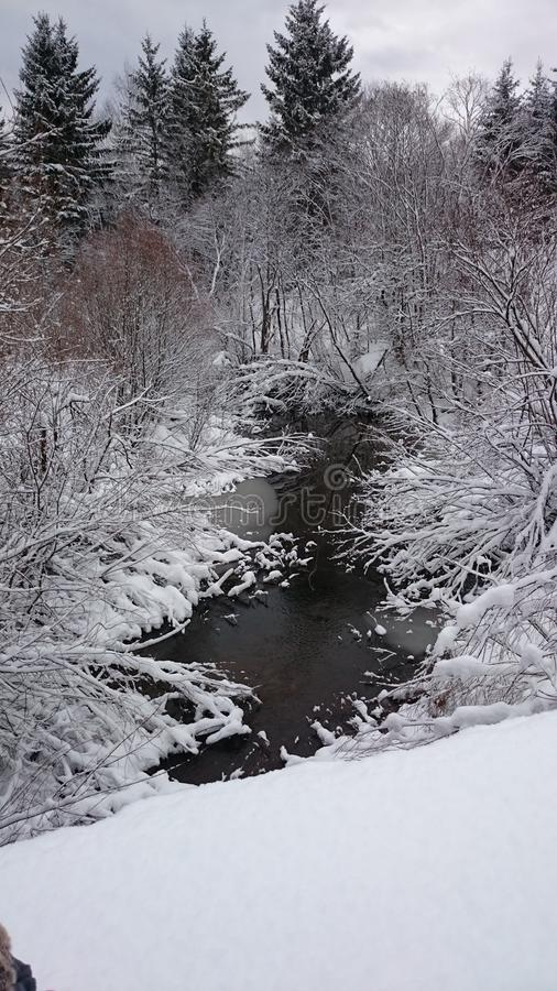 Little River in Winter landscape stock image