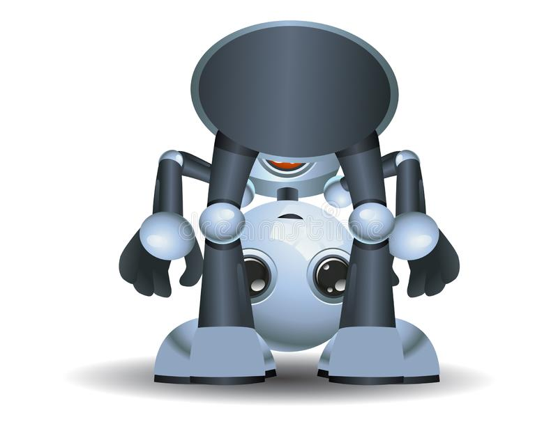 Little robot baby playing around. Illustration of a little robot baby playing around on isolated white background stock illustration