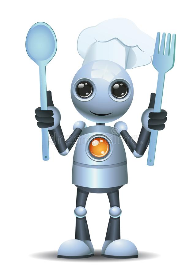 Free Little Robot Chef Hold Cooking Tools Stock Images - 146283544