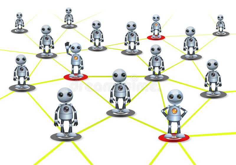 Little robot community relation on isolated white background. Illustration of a happy droid little robot community relation on isolated white background vector illustration