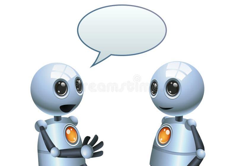 Little robot conversation illustration on isolated white background stock illustration