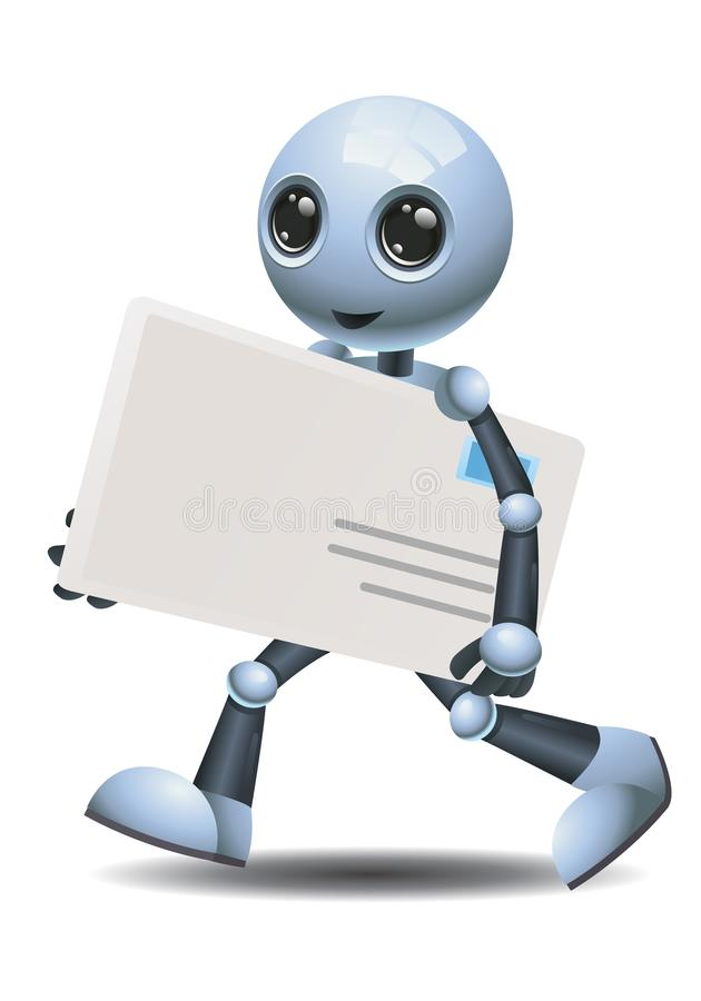 Little robot delivering envelope on isolated white background. Illustration of a happy droid little robot delivering envelope on isolated white background stock illustration