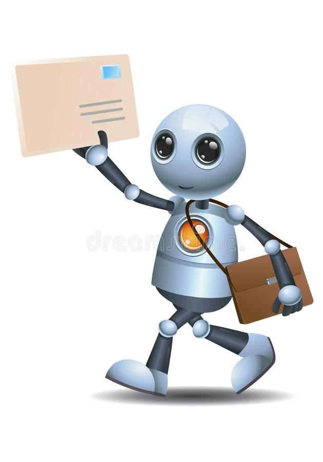 Little robot delivering envelope mail. Illustration of a happy droid little robot delivering envelope mail on isolated white background stock illustration