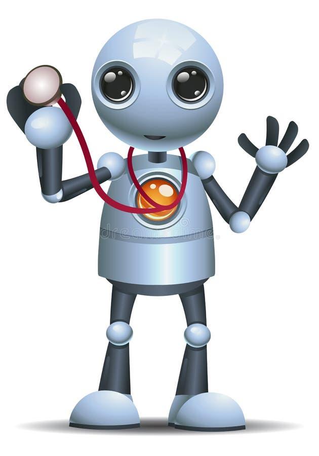 Little robot doctor hold stethoscope. Illustration of a happy droid little robot doctor hold stethoscope on isolated white background vector illustration