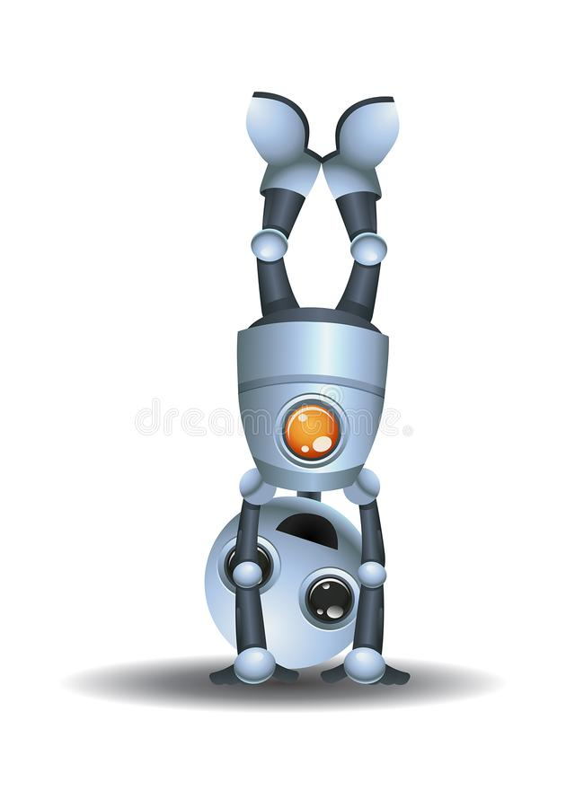 Little robot doing hand stand. Illustration of a little robot doing hand stand on isolated white background vector illustration