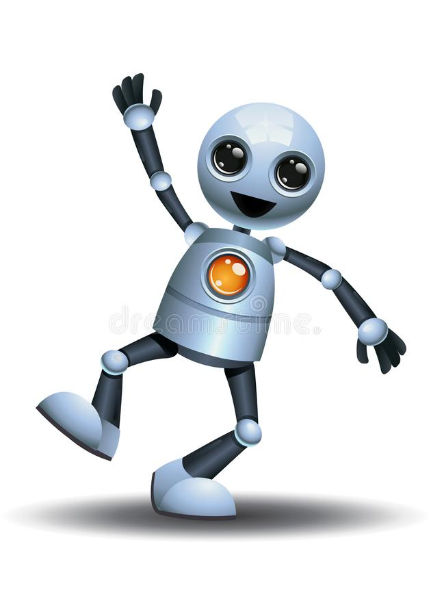 Little robot doing step jumping on happiness. Illustration of a little robot doing step jumping on happiness on isolated white background action alien character vector illustration