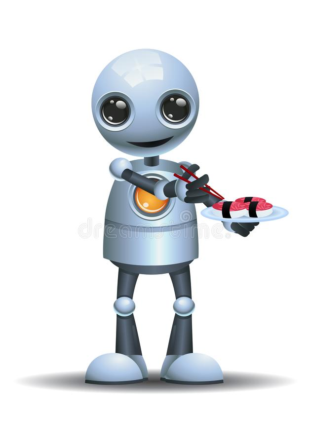 Free Little Robot Eating Sushi On Isolated White Background Royalty Free Stock Photo - 147085495