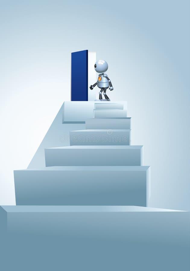 Little robot entering heavenly door stock illustration