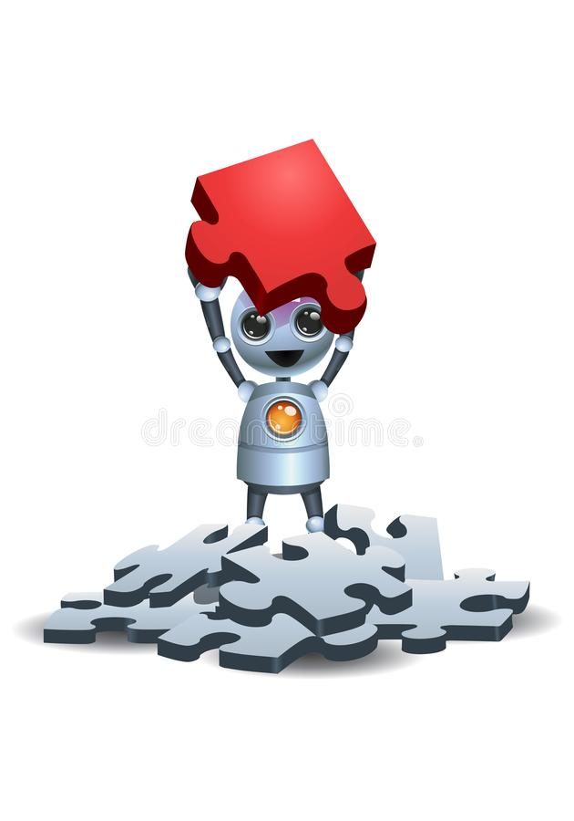 Little robot find different puzzle piece. Illustration of a happy droid little robot find different puzzle piece on isolated white background stock illustration