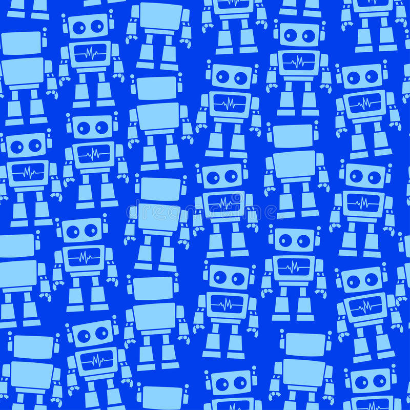 Little robot front and back seamless pattern royalty free illustration