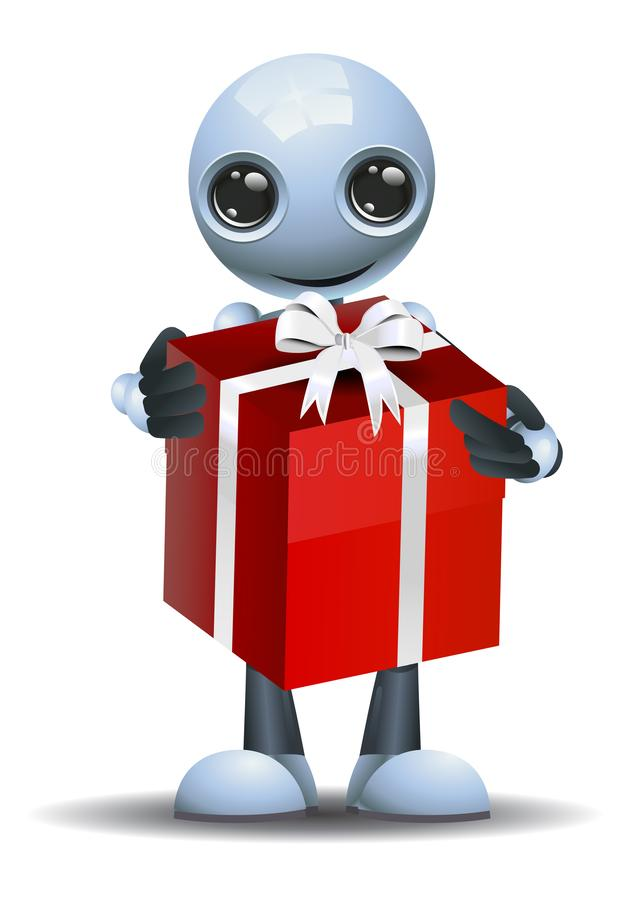 Little robot got a big gift vector illustration