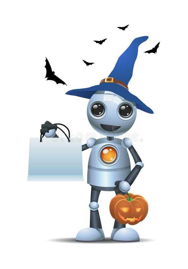 Little robot in halloween carrying carved pumpkin. Illustration of a happy droid little robot in halloween carrying carved pumpkin on isolated white background stock illustration