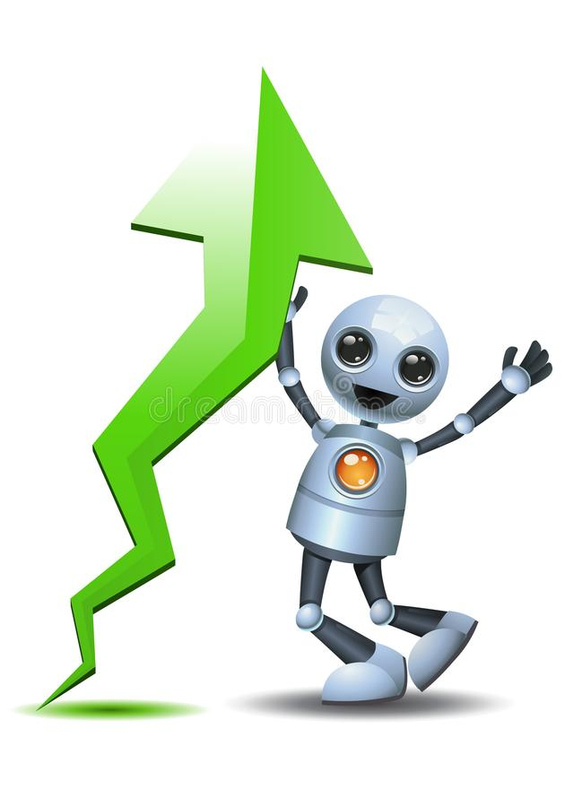 Little robot happy seeing ascending chart. Illustration of a happy droid little robot happy seeing ascending chart on isolated white background royalty free illustration