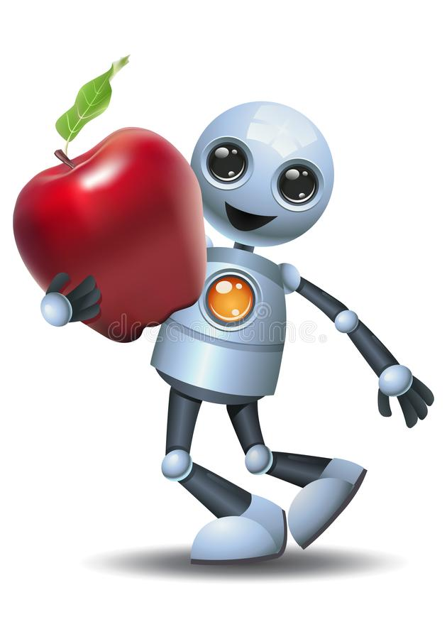 Little robot hold apple on isolated white background royalty free illustration