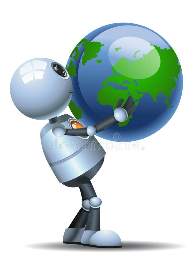 Little robot hold globe on white background royalty free illustration