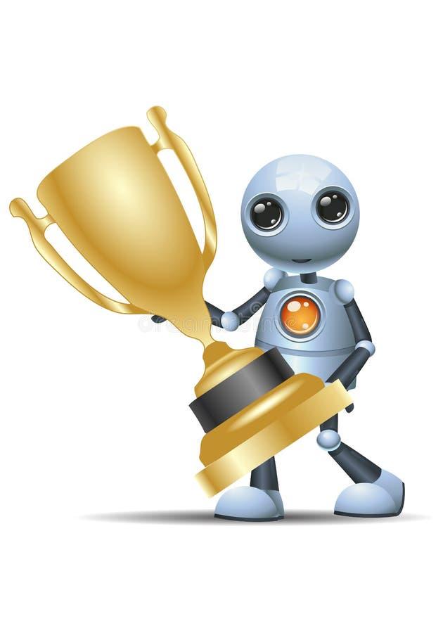 Little robot hold golden winning trophy vector illustration
