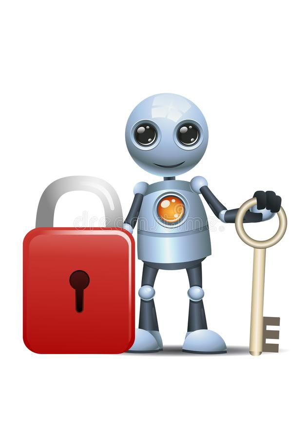 Little robot hold key for security pad lock stock illustration
