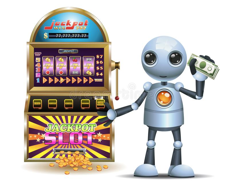 Little robot hold a lot of money from gambling stock illustration