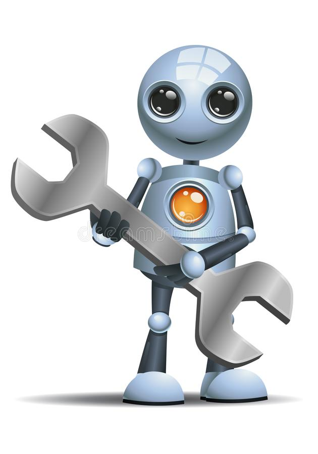 Little robot hold mechanic tool wrench royalty free illustration
