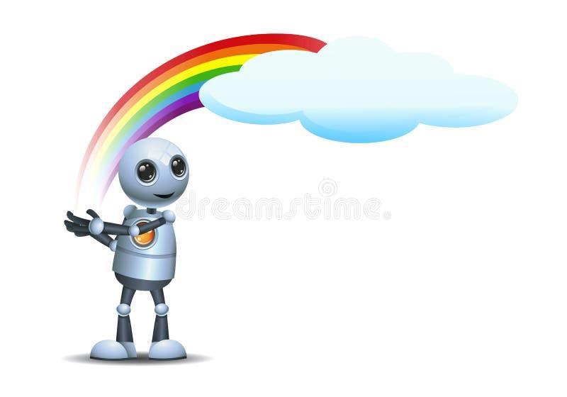Little robot hold rainbow on isolated white background vector illustration