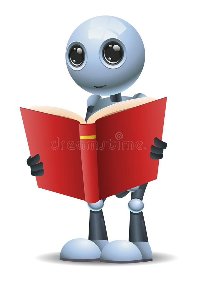 Little robot hold and reading red book stock illustration