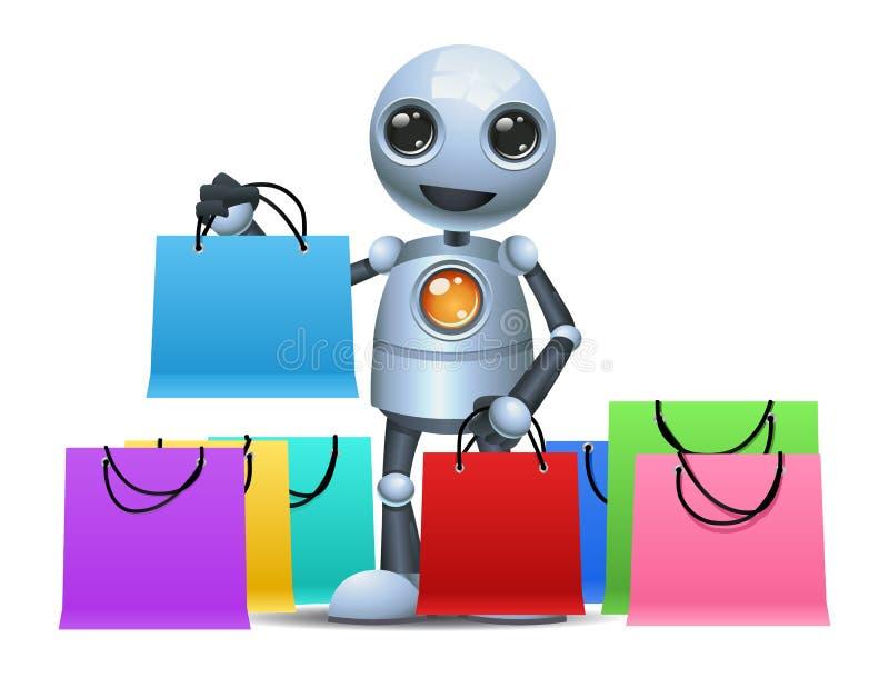 Little robot hold shopping bags stock illustration