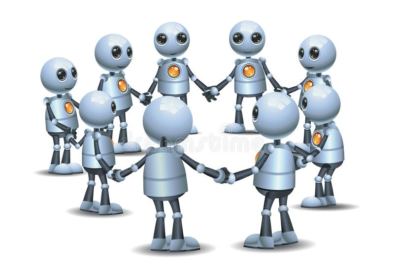 Little robot holding hand making circle in group stock illustration