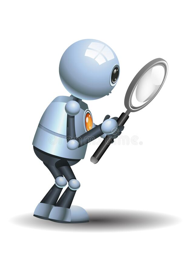 Free Little Robot Holding Magnifier Doing Research And Observation In Awe Royalty Free Stock Image - 177403916